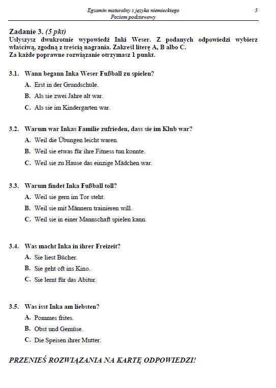 Matura 2014 Język niemiecki - ODPOWIEDZI I ARKUSZE - poziom podstawowy