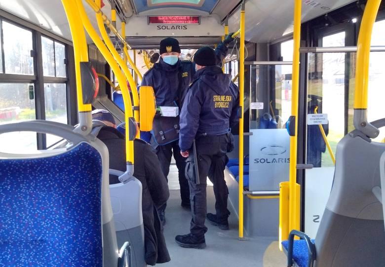 W czasie prowadzonych kontroli strażnicy miejscy rozdają między innymi maseczki pasażerom, głównie w przypadkach, gdy te wymagają wymiany z uwagi na
