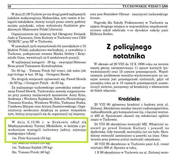 Tuchowskie Wieści, nr 5 z 1996 roku. Piotr miał wtedy 11 lat