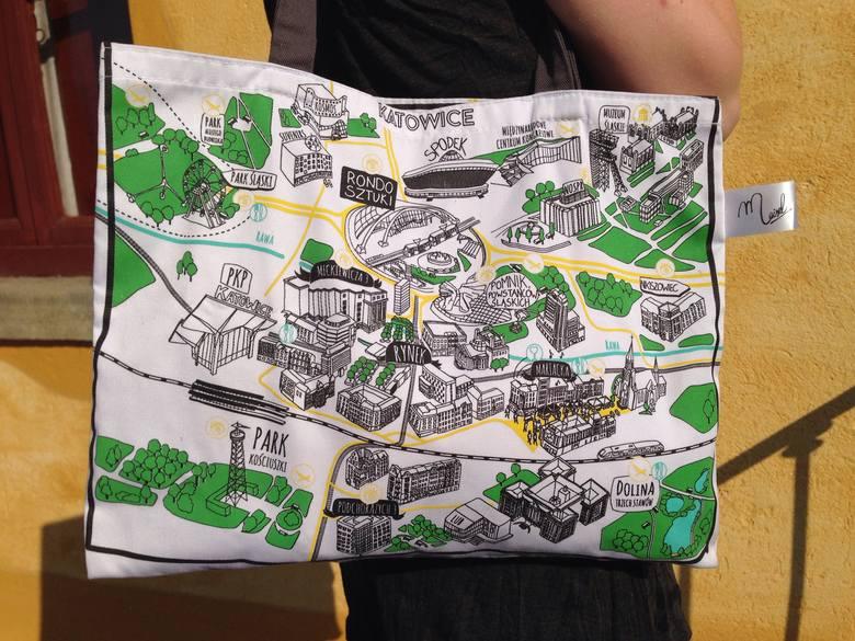 Najlepsze śląskie prezenty: Torba z mapą Katowic – biała torba z materiału, z dwustronnym nadrukiem przedstawiającym charakterystyczne miejsca w Katowicach,