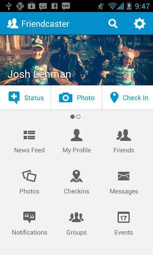 Menu główne programu (wer. angielska)Friendcaster: Zastępujemy oryginalną aplikację Facebooka
