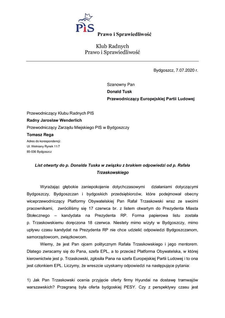 Klub Radnych PiS z Bydgoszczy wystosował list do Donalda Tuska