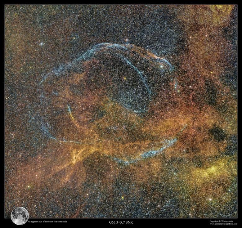Pozostałości po supernowej W63, tzw. Pętla Łabędzia. To duża, stosunkowo słaba pozostałość po supernowej, znajdująca się w gwiazdozbiorze Łabędzia, w