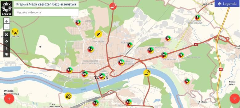 Mapa Zagrozen W Toruniu Ktore Osiedle Najgrozniejsze Nowosci