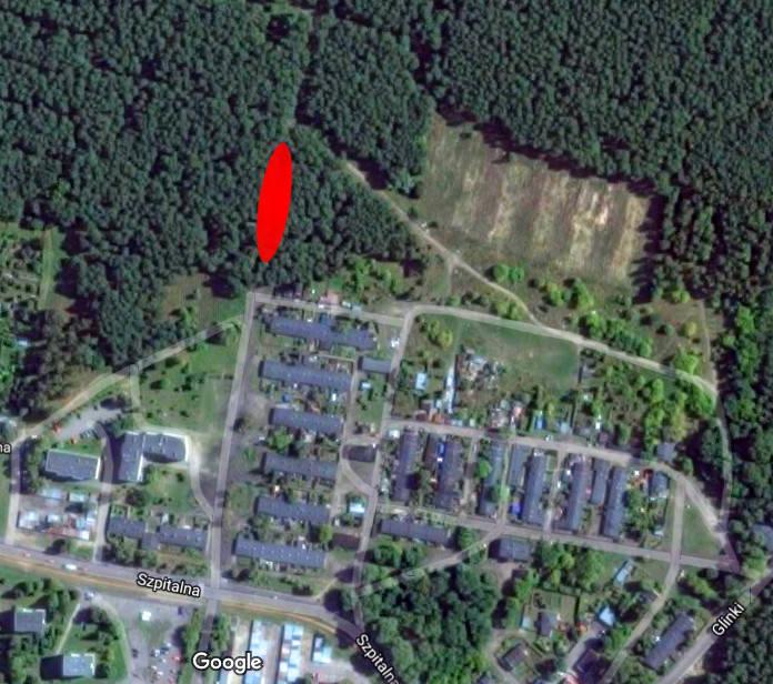 Czerwonym kolorem zaznaczyliśmy miejsce, w którym odnaleziono ludzkie ciała.