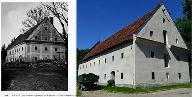 Zabytkowy spichlerz na Świerczu na zdjęciu wykonanym przez Maxa Glauera na początku XX wieku i współczesne zdjęcie z 2015 r.
