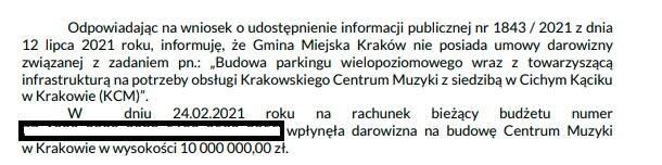 Oficjalna odpowiedź urzędników w sprawie darowizny