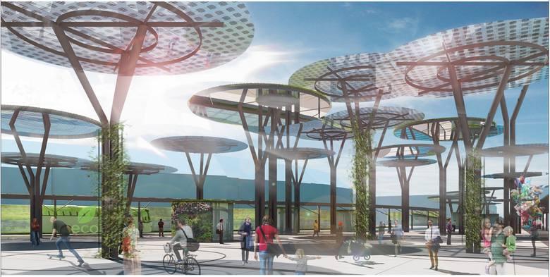Tak plac przed dworcem prezentuje się w koncepcji przygotowanej dla Zarządu Transportu Miejskiego w Rzeszowie.