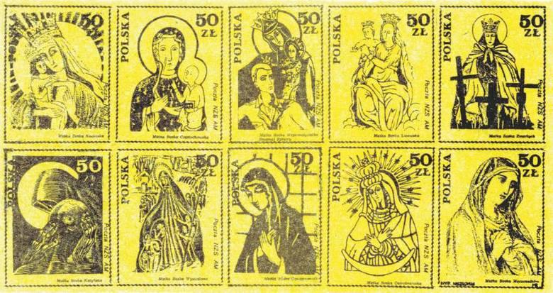 Na bloczku wydanym w latach 80. XX wieku przez Pocztę NZS AM widniało 10 wizerunków Matki Boskiej: Kozielska, Częstochowska, Wspomożycielka Słusznej