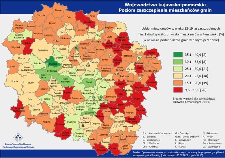 W regionie widać duże dysproporcje, jeżeli chodzi o proces szczepienia mieszkańców poszczególnych gmin (dane z 5 lipca 2021 roku)