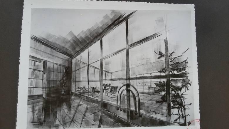 Rysunek Schayera, przedstawiający wnętrze muzeum