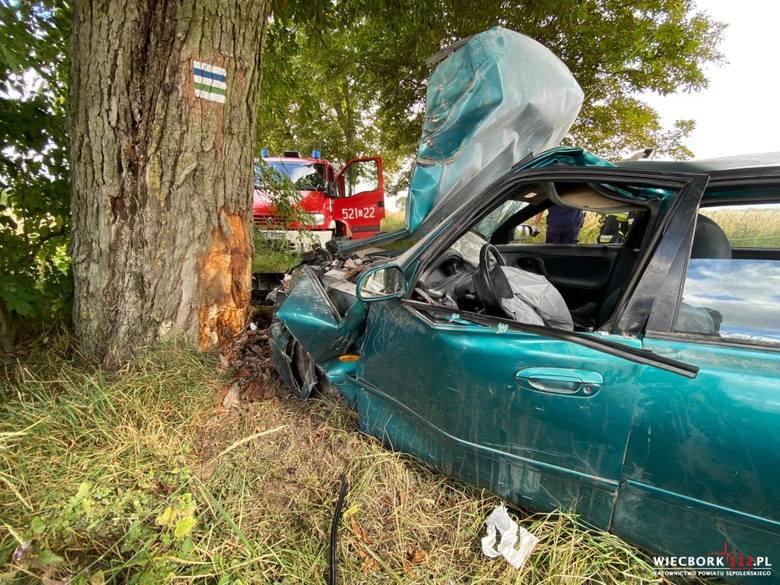 Na trasie Komierówko-Sępólno mazda uderzyła w drzewo. Strażacy nie odnaleźli żadnych osób - ani w środku pojazdu, ani na zewnątrz