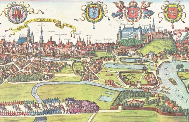 """Panorama Krakowa z początku XVII w. zamieszczona w dziele """"Civitates orbis terrarum"""" Georga Brauna i Franza Hogenberga"""