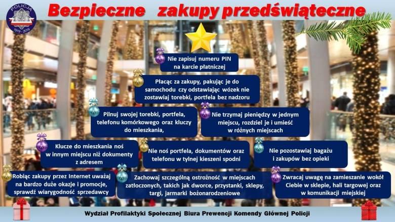 Komenda Główna Policji przygotowała zbiór porad dla osób robiących zakupy przed świętami