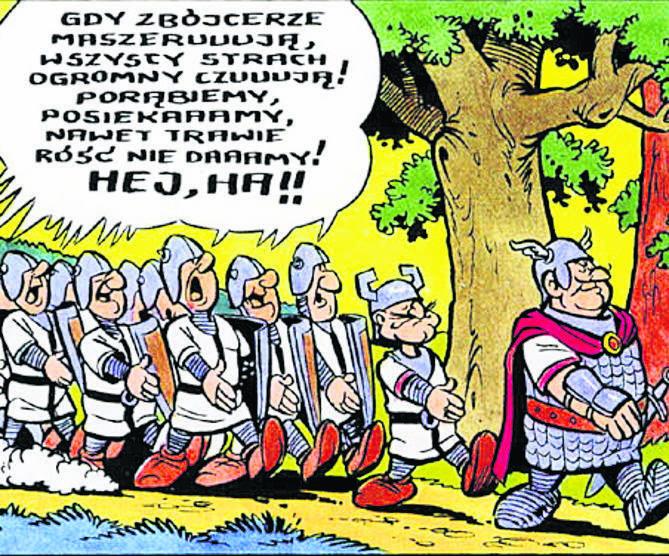 Hegemon i jego  ekipa. Białe płaszcze, czarne krzyże... Skojarzenia co do proweniencji zbójrycerzy były w PRL jednoznaczne...