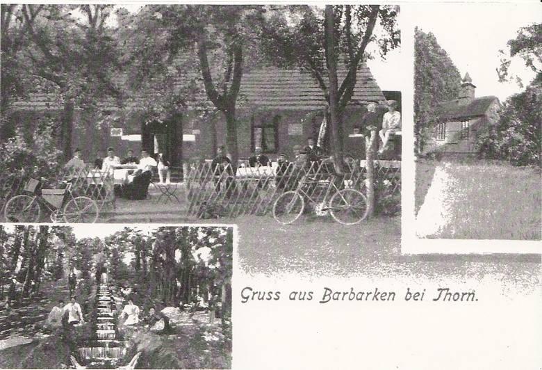 Kaplica, kaskada i restauracja na Barbarce na pocztówce z początku XX wieku