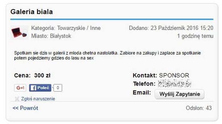 Ogłoszenie o płatnym seksie na portalu ogłoszeniowym