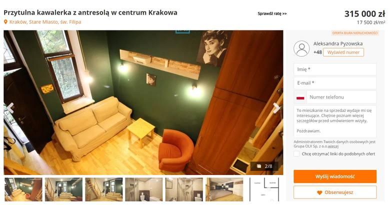 """To mieszkanie jest na sprzedaż. Znajduje się w ścisłym centrum Krakowa, przy ulicy św. Filipa. """"Składa się ono z przestronnego salonu z aneksem"""