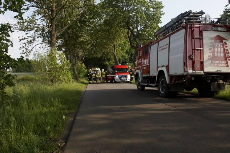 To prawdziwy cud, że kobieta prowadząca osobową Skodę przeżyła uderzenie w drzewo. Wypadek miał miejsce w sobotę 1 czerwca ok. godz. 16., na prostym