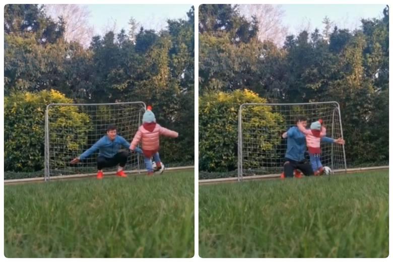 Robert Lewandowski gra w piłkę z Klarą. Strzeliła mu gola!