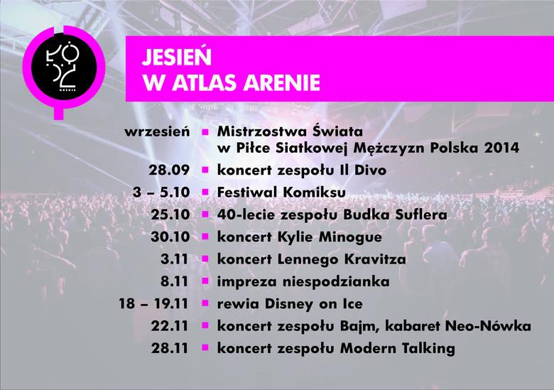 Imprezy w Atlas Arenie jesienią: siatkarze, Kylie Minogue i Lenny Kravitz [HARMONOGRAM]