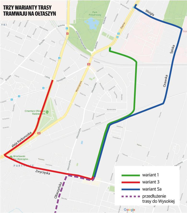 Warianty przebiegu trasy tramwajowej na Ołtaszyn