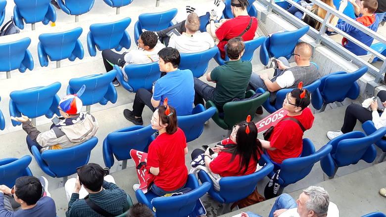 Kibice z Korei Południowej licznie przybyli na trybuny stadionu w Bielsku-Białej