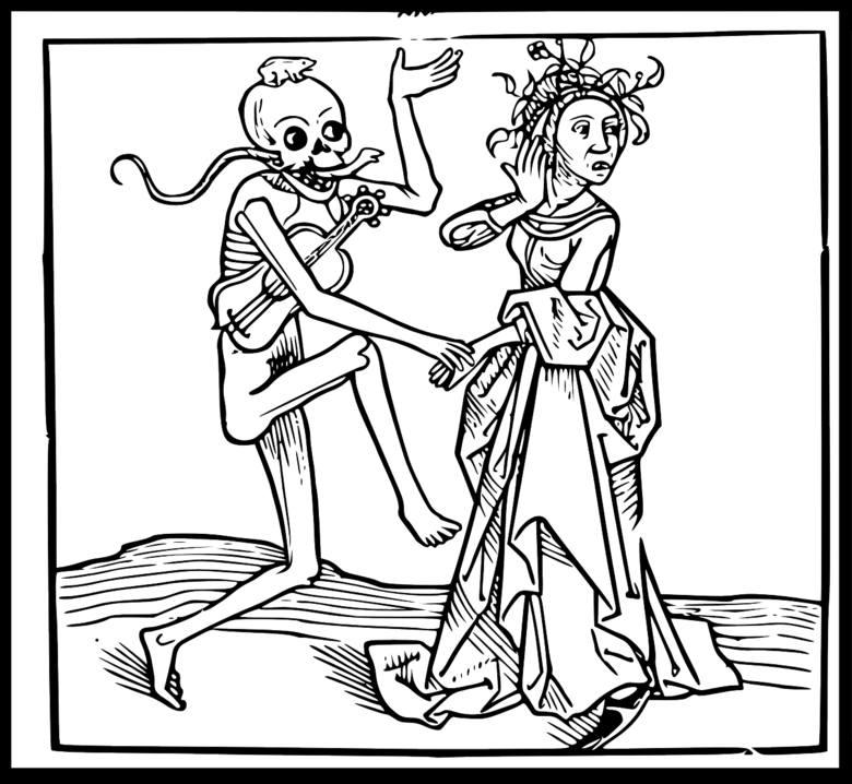 Średniowieczne przedstawienie śmierci jako nieuchronnego losu każdego człowieka, zwłaszcza w epoce epidemii dżumy