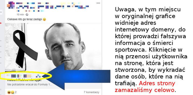 Robert Kubica nie żyje - to nieprawda. To kolejny obrzydliwy fake news i działanie cyberprzestępców!