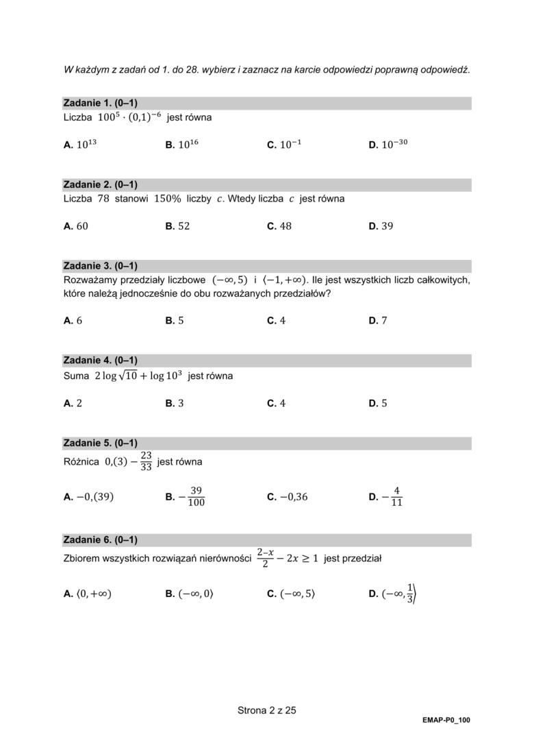 ODPOWIEDZI:1.B2.B3.A4.C5.D6.BWIĘCEJ ODPOWIEDZI NA NASTĘPNEJ STRONIE