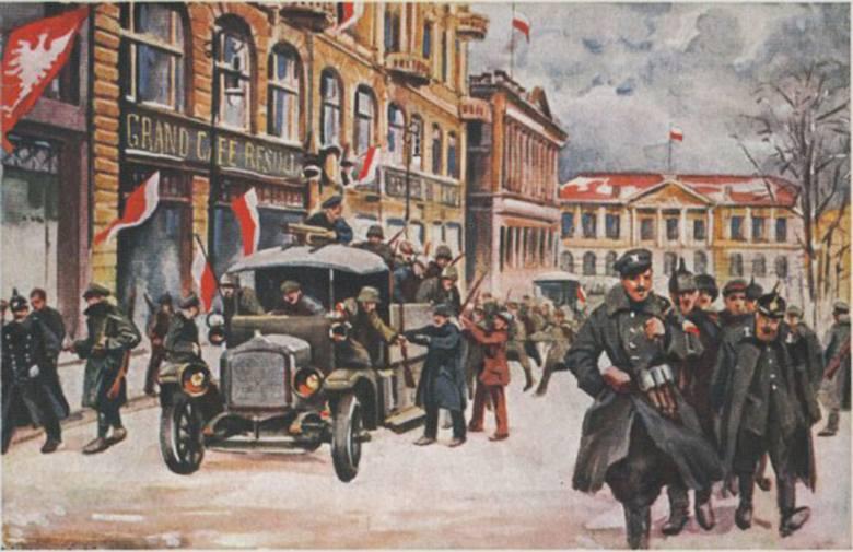 Obraz Leona Prauzińskiego - powstańcy wielkopolscy przekazują zgromadzoną wcześniej broń