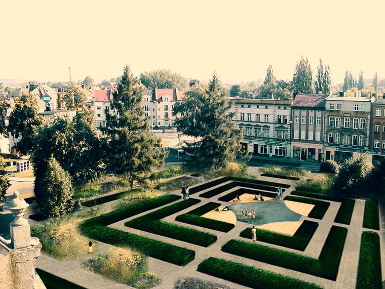 Wizualizacja pokazuje jak miałby wyglądać odnowiony park w Gubinie. Ma być wizytówką miasta.