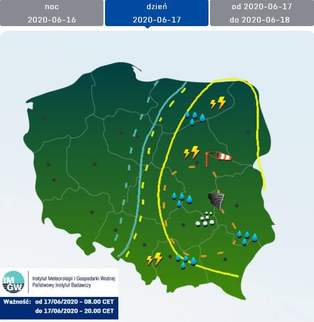 """Pogoda w woj. lubelskim. Możliwe burze, jest też """"ograniczone ryzyko trąb powietrznych"""