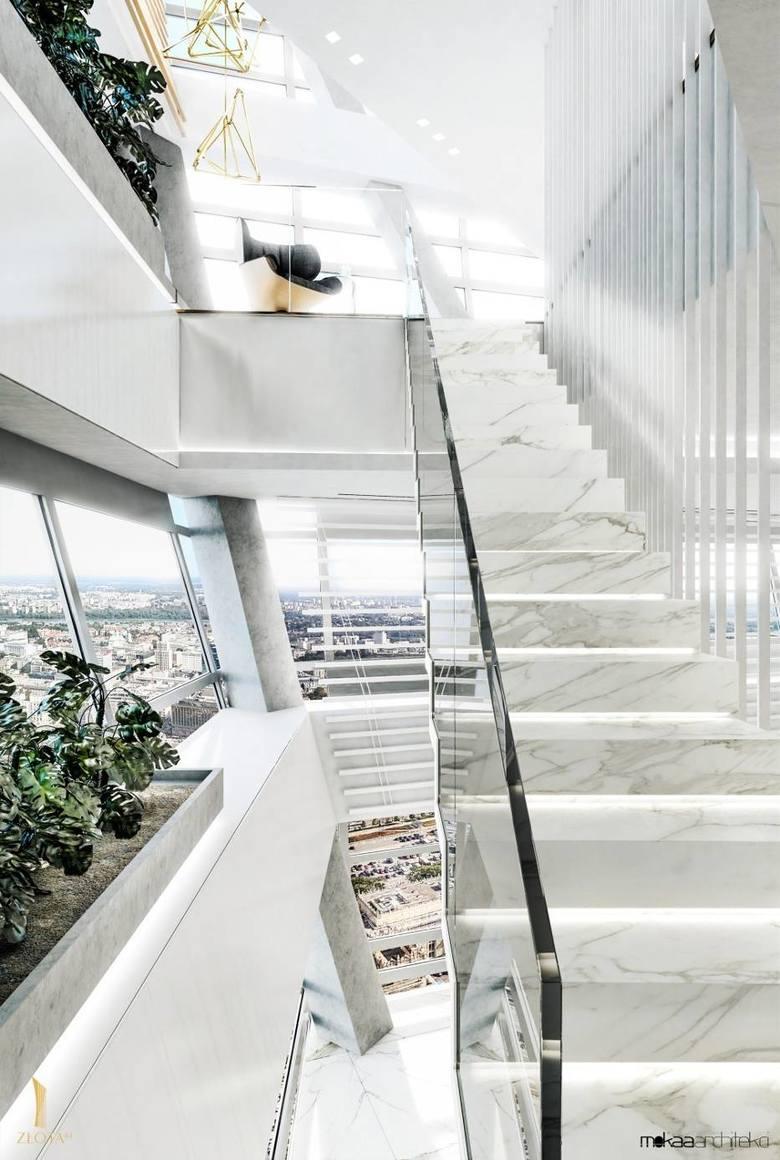 Cały apartament ma ok. 600 mkw. powierzchni. W najwyższym punkcie ma aż sześć metrów wysokości. Poza tym, od strony południowej, zainstalowano w nim