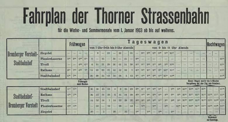 Rozkład jazdy toruńskich tramwajów z wydanego w 1903 roku przewodnika Reinharda Uebricka, któremu to zresztą (Uebrickowi, nie przewodnikowi) toruńskie