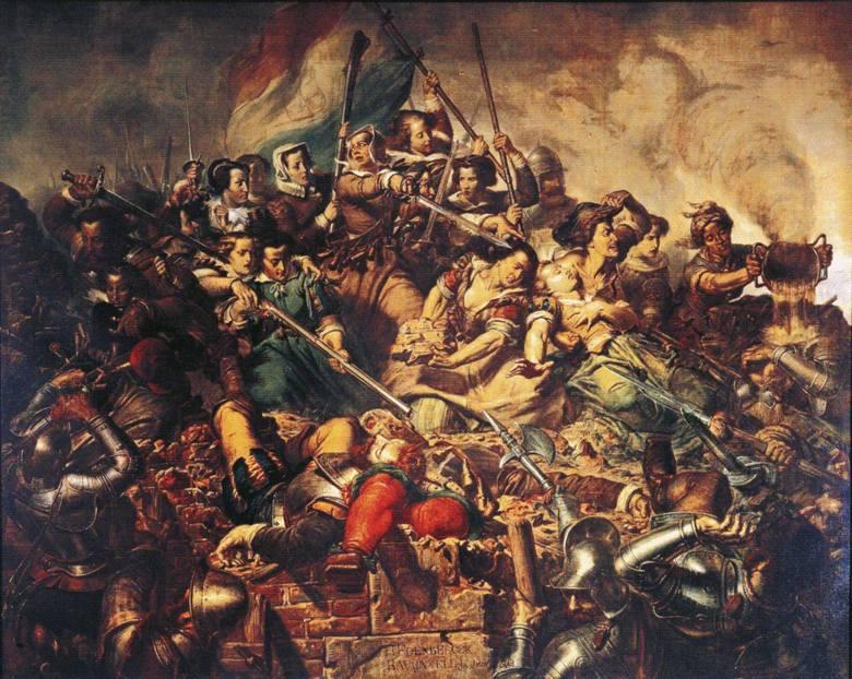 Oblężenie Haarlemu (1572-1573). Hiszpanie, dowodzeni przez syna księcia Alby, zdobyli miasto i dokonali masakry obrońców