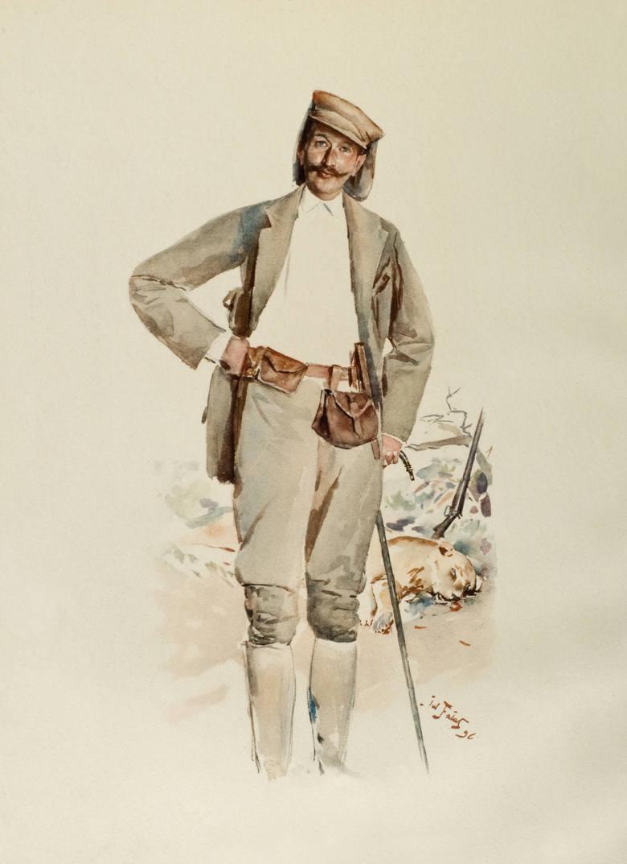 """Julian Fałat, Józef Potocki na polowaniu w Afryce w 1896 roku, repr. J.Potocki, """"Sport in Somaliland' London 1900"""