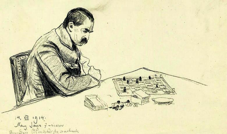 Józef Piłsudski gra w szachy w Nowym Sączu, 14.12.1914 r. Rysunek Leopolda Gottlieba. Okolicznościowa pocztówka