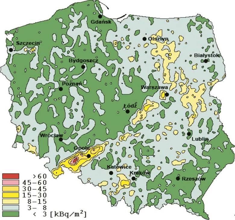 Rozkład skażeń po katastrofie w Czarnobylu na terenie Polski