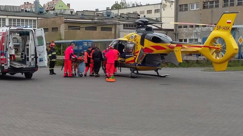 W Chełmnie w bazie PKS-u, około godz. 14, wylądował śmigłowiec LPR. Przyleciał po pracownika firmy FAM przy ul. Polnej.Więcej informacji w dalszej części