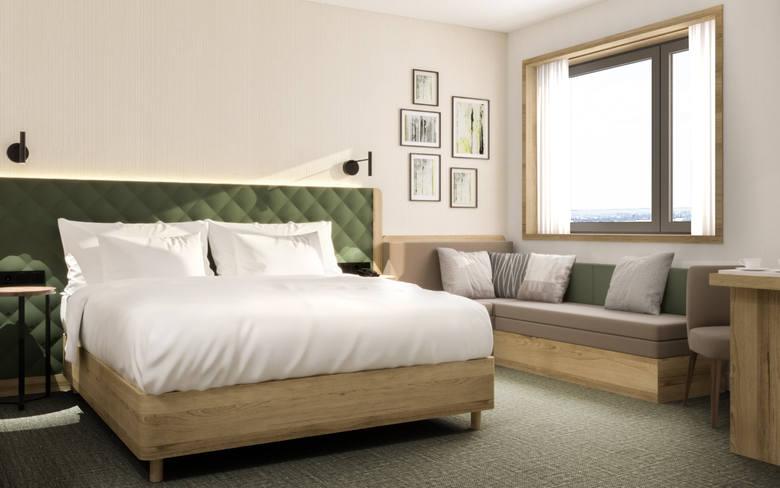 Czterogwiazdkowy hotel będzie miał 132 pokoje, dwie sale konferencyjne (100 i 40 mkw.), fitness oraz restaurację i bar. W tych ostatnich będzie ponad