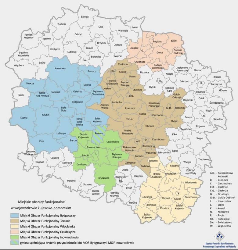 Mapa pokazująca Miejskie Obszary Funkcjonalne - Bydgoszczy, Torunia, Włocławka, Grudziądza i Inowrocławia.