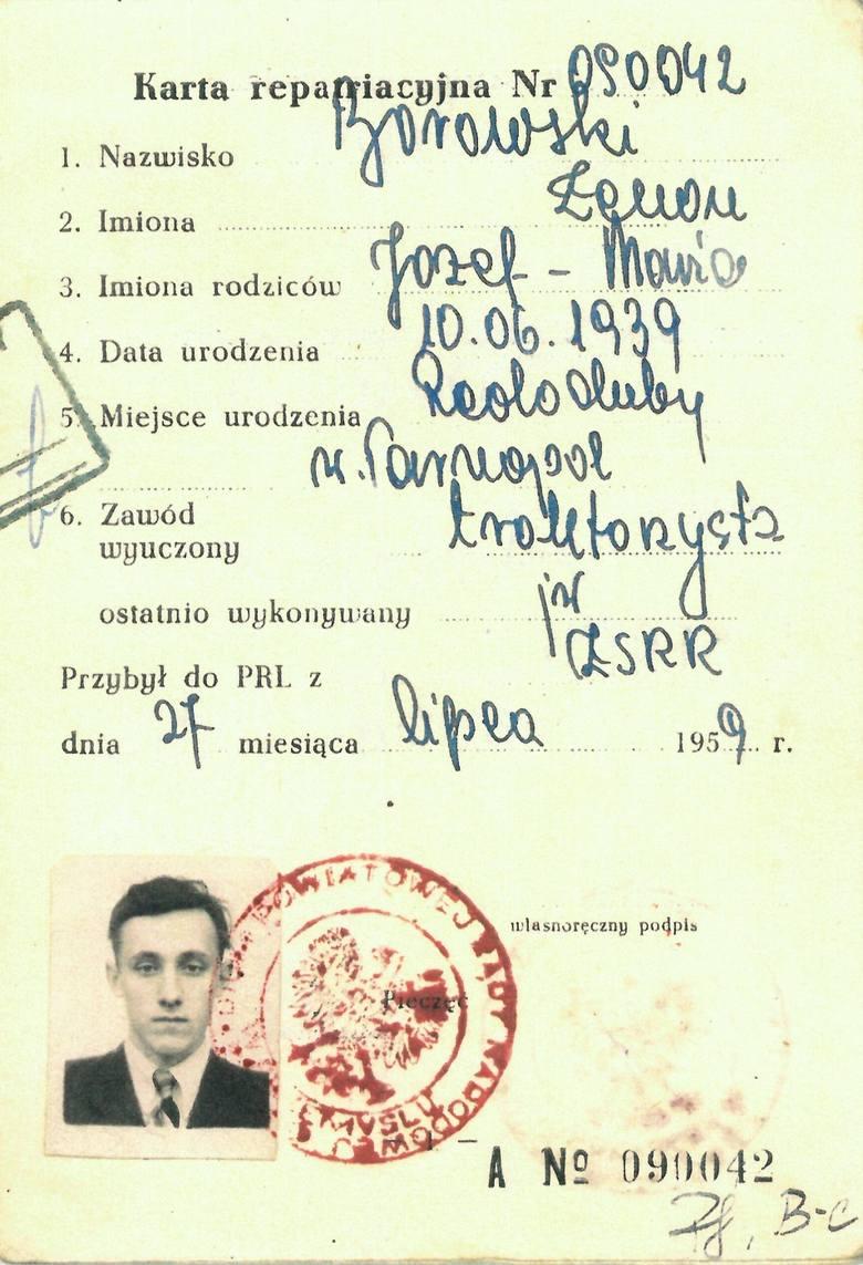 Karta repatriacyjna Zenona Borowskiego. Do Polski przyjechał 27 lipca 1959 roku