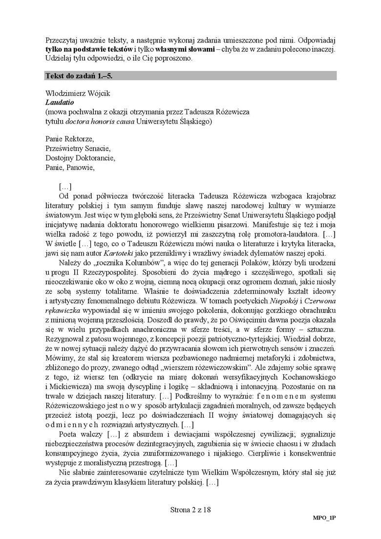 Matura 2018 - Polski. Odpowiedzi, arkusze CKE - 4.05.2018 [POZIOM PODSTAWOWY]
