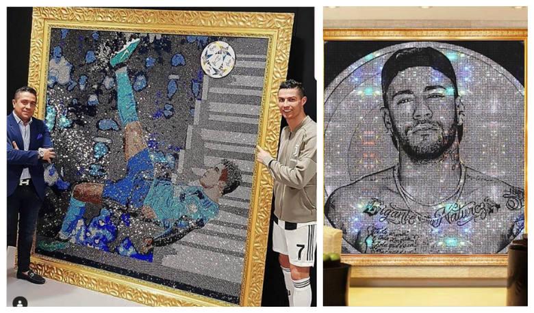 Leo Messi, Cristiano Ronaldo, Neymar, Diego Maradona, Ronaldinho i wielu, wielu innych. Piłkarze oszaleli wręcz na punkcie obrazów z kryształów Swarovskiego