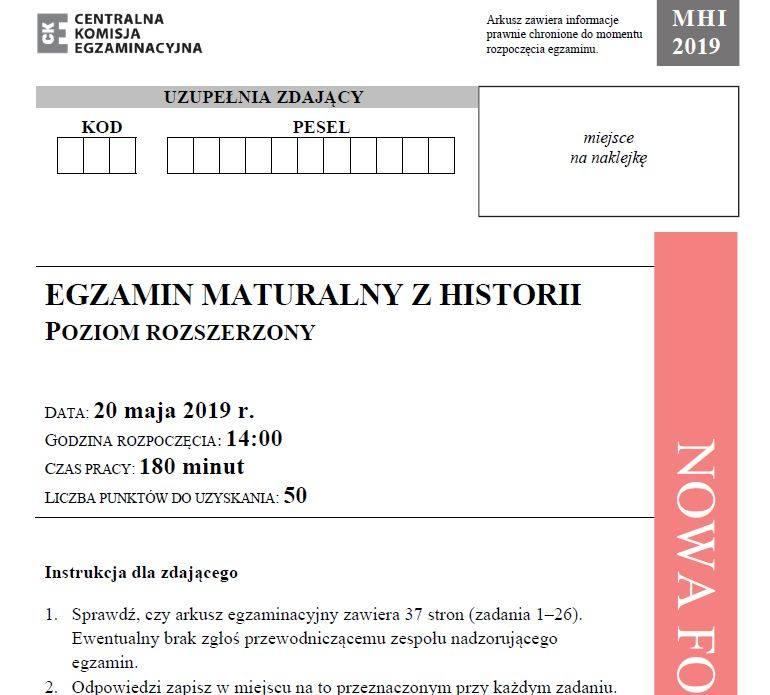 Matura 2019 HISTORIA poziom rozszerzony ODPOWIEDZI I ARKUSZ CKE. Matura z historii rozszerzenie 20.05.2019 - pytania, odpowiedzi