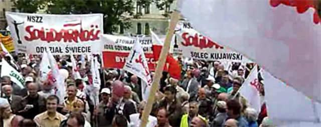 """[wideo] Manifestacja """"Solidarności"""" w Bydgoszczy"""