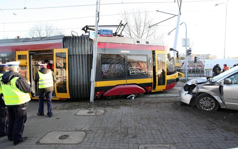 Wypadek tramwaju na Zgierskiej. 5 osób poszkodowanych [ZDJĘCIA+FILM]