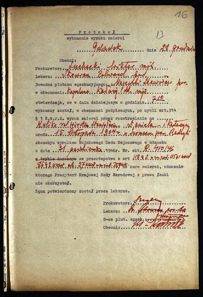 Protokół wykonania wyroku śmierci na Stanisławie Kuliku