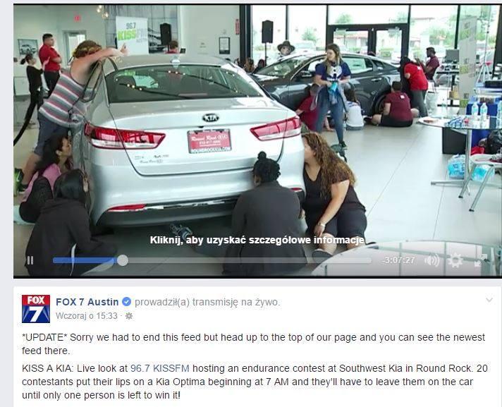 Aby dostać nową brykę... całują samochód! Wygra ten, kto wytrzyma najdłużej.  Konkurs w USA... [FILM